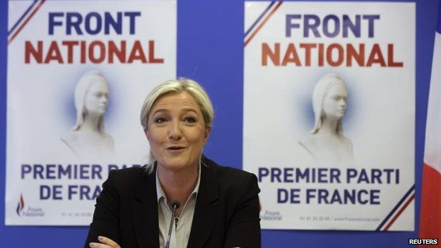Marine Le Pen, France's National Front political party head, attends a news conference at the party's headquarters in Nanterre, near Paris, May 27, 2014