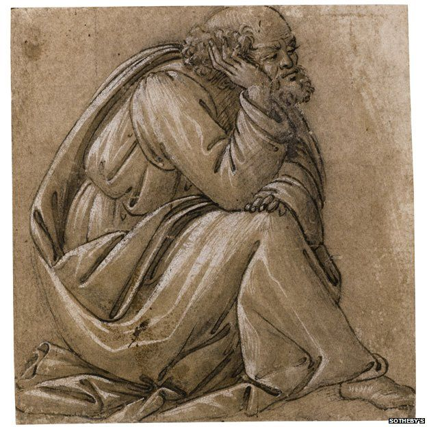 Sandro Botticelli, Study for a seated St Joseph, his head resting on his right hand,