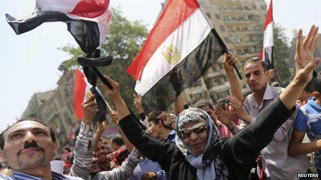 Supporters Abdel Fattah al-Sisi's victory in the Egyptian presidential elections in Tahrir Square, Cairo, 29 May