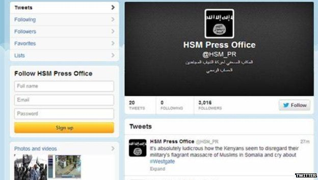 Screengrab of one of Al-Shabab's Twitter feeds