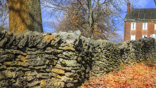 Stone fence in Pleasant Hill, Kentucky