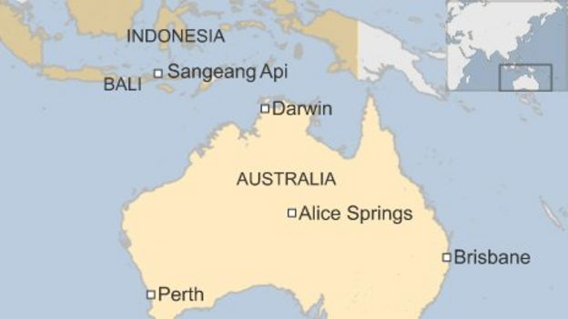 Volcano ash clouds force australia flight cancellations bbc news map of darwin and other areas affected by ash cloud in australia and indonesia gumiabroncs Choice Image