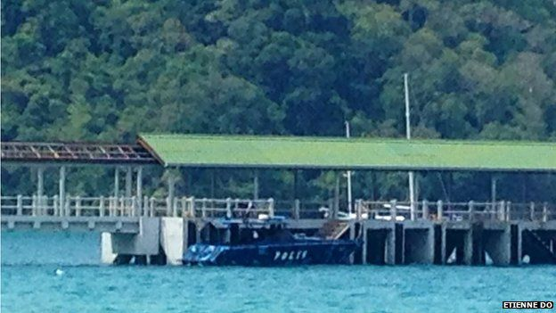 Police boat on the island