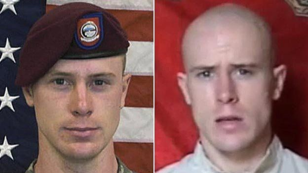 Composite image showing Sgt Bowe Bergdahl left, in US marine uniform ahead of his June 2009 capture and right, in a video released shortly after his capture