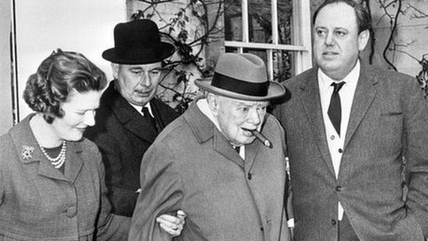 Lady Mary Soames (left), with her father Winston Churchill (centre) in 1964