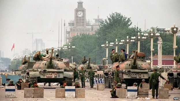The People's Liberation Army tanks guard a strategic Chang'an Avenue leading to Tiananmen Square on 6 June 1989