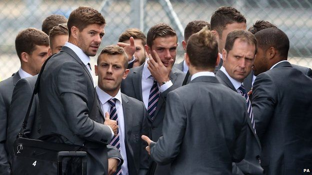 The comedian appeared to be spotted first by captain Steven Gerrard before security and local police intervened
