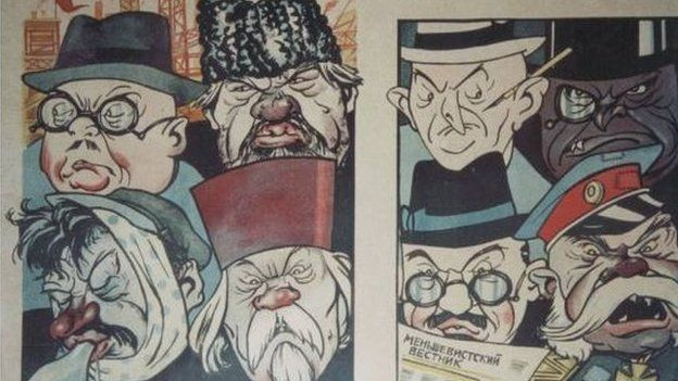 'Gelynion y Cynllun 5 mlynedd' - o gasgliad Gareth Jones o bosteri propaganda yr Undeb Sofietaidd.