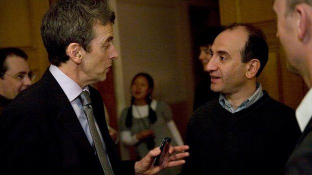 Armando Iannucci And Peter Capaldi On The Set Of The Thick Of It