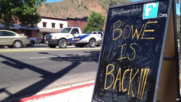 A sign celebrating the release from captivity of Sgt Bowe Bergdahl in Hailey, Idaho, on 4 June 2014
