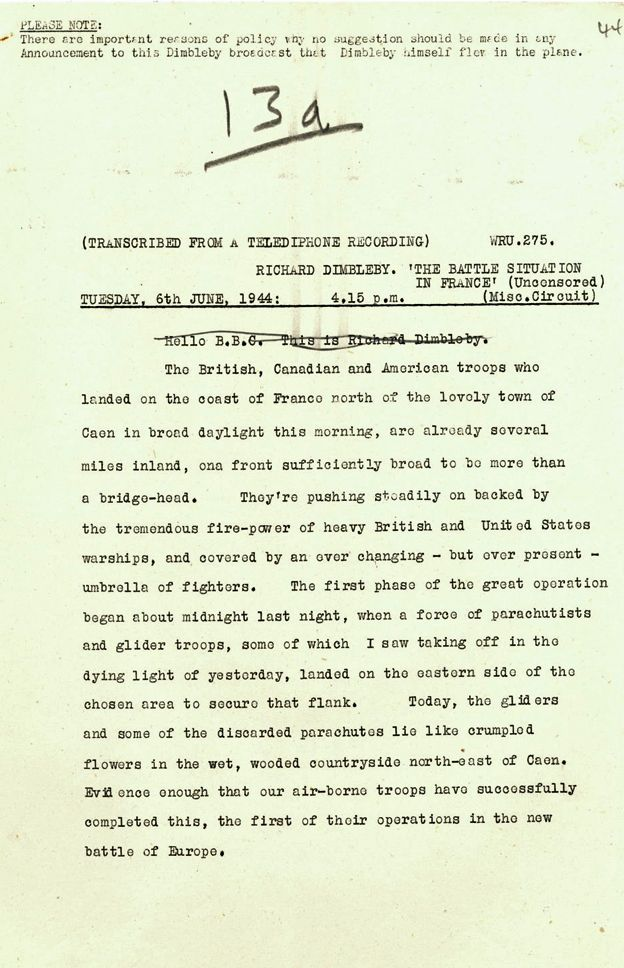 Dimbleby report from 1600, 6 June 1944