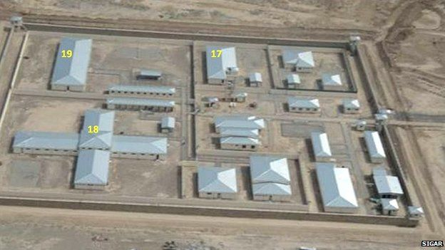 A aerial view of Baghlan prison provided by SIGAR identifies three problem buildings, one had to be demolished