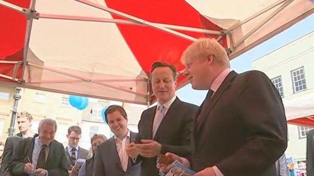 David Cameron and London Mayor Boris Johnson in Newark