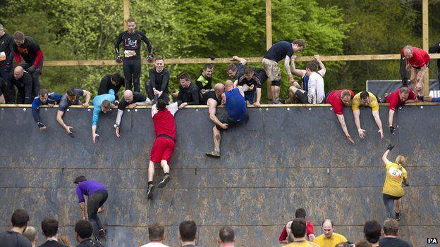 Participants in a Tough Mudder event