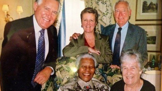Peter Hain MP, his wife Elizabeth and Adelaine and Walter Hain with Nelson Mandela