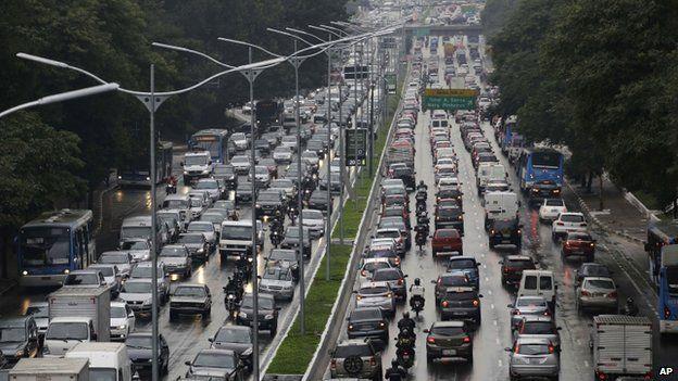 Traffic jam during Sao Paulo strike, Friday