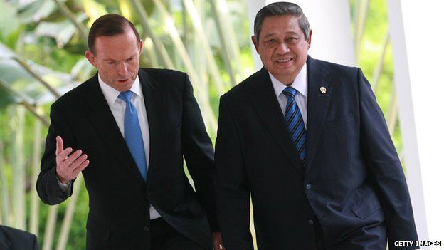 Australian Prime Minister, Tony Abbott, attends a meeting with Indonesia President, Susilo Bambang Yudhoyono, on 4 June, 2014 in Batam, Indonesia