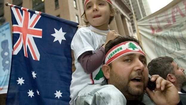 A demonstrator carries his daughter on his shoulders as they participate in a demonstration outside the US consulate to denounce the Israeli attacks on Lebanon and Gaza on 22 July, 2006 in Sydney, Australia