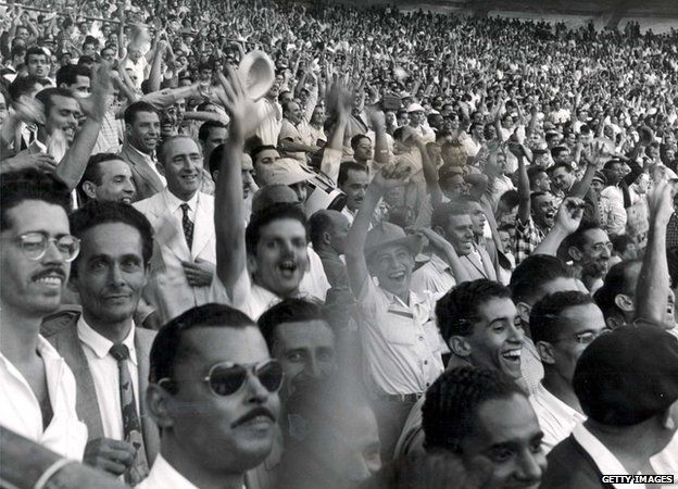 Brazilian fans in the Maracana Stadium