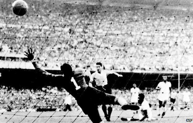 Juan Alberto Schiaffino scores Uruguay's equaliser