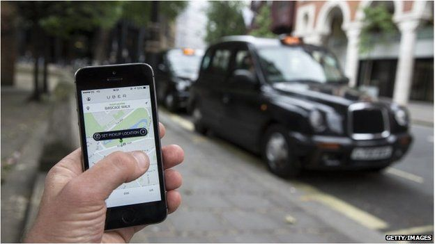 Taxi cabs and the Uber app