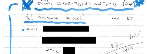 Part of Glenn Mulcaire's notes on hacking Milly Dowler's phone