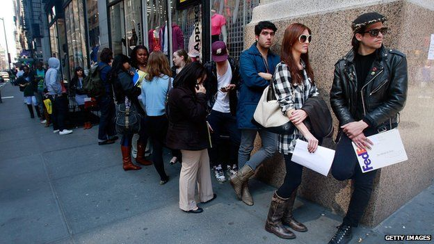 People queuing for jobs