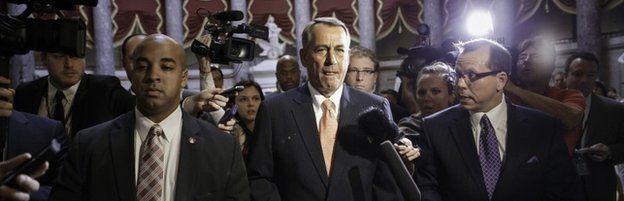 John Boehner with reporters