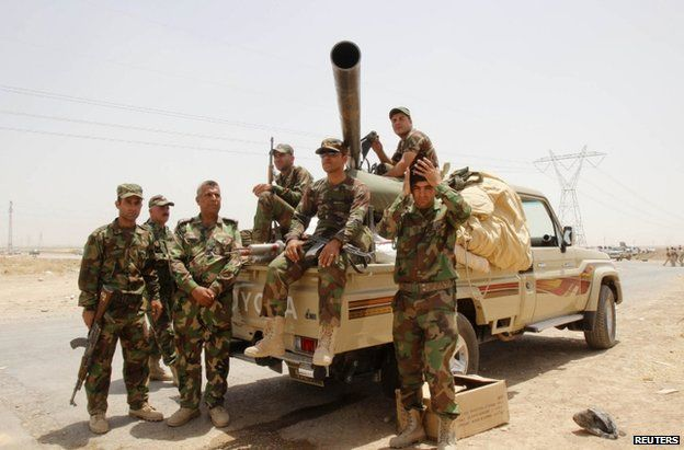 Kurdish fighters outside Kirkuk, 11 June