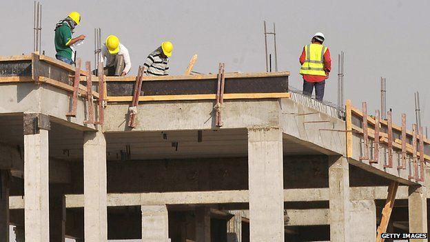 Construction workers in Riyadh, Saudi Arabia. Oct 2013