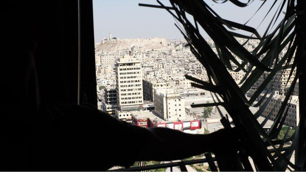 Aleppo citadel, seen from window of governor's damaged office