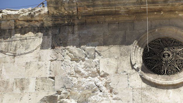 Damage to Greek Catholic church
