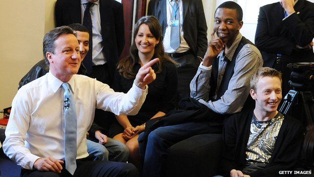 David Cameron with young people