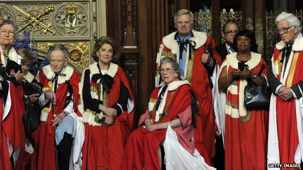 Lady Trumpington with some of her fellow peers