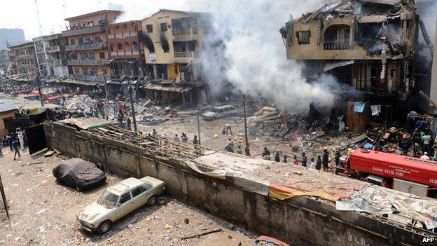 Building stocked with fireworks on fire in Lagos Island on 26 December 2012