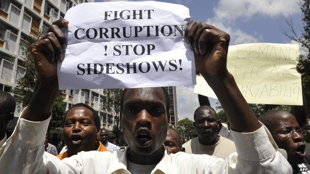 Kenyans take part in a demonstration in Nairobi on 17 February 2010