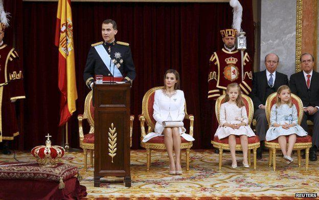 King Felipe speaks during the swearing-in ceremony at the Congress of Deputies in Madrid, 19 June