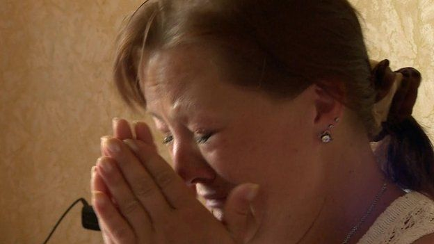 Alyona Slastina who left Sloviansk. She is pictured crying