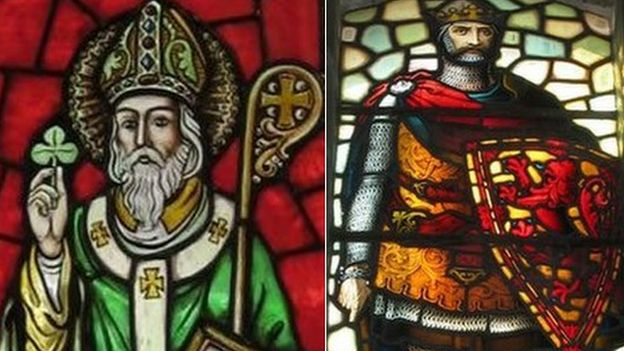 Saint Patrick and Robert the Bruce depicted on stained glass windows
