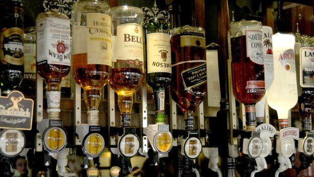 Whisky bottles in a bar