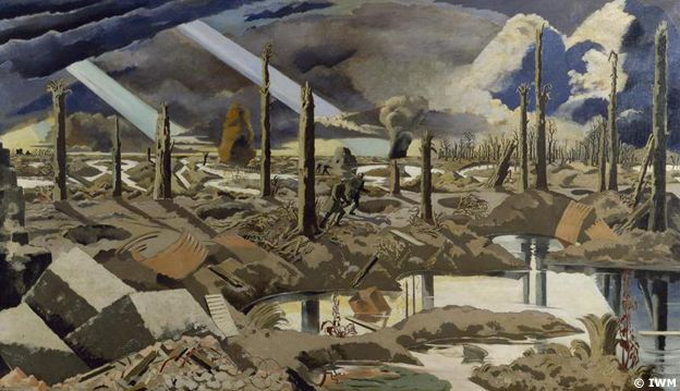 The Menin Road by Paul Nash - A devastated battlefield pocked with rain-filled shell-holes, IWM (Art.IWM ART 2242)