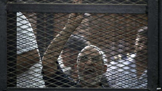 File photo: Egyptian Muslim Brotherhood leader Mohammed Badie gesturing as he shouts from inside the defendants cage during his trial in the capital Cairo, 7 June 2014