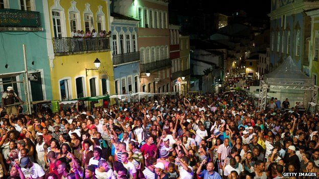 People in Salvador, north-east Brazil, during Dia do Samba, which celebrates composer Ary Barroso