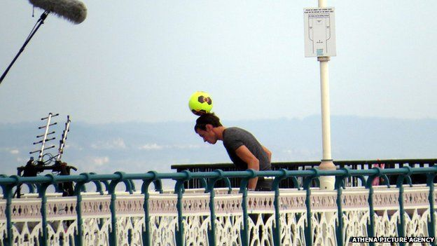 Gareth Bale on Penarth pier