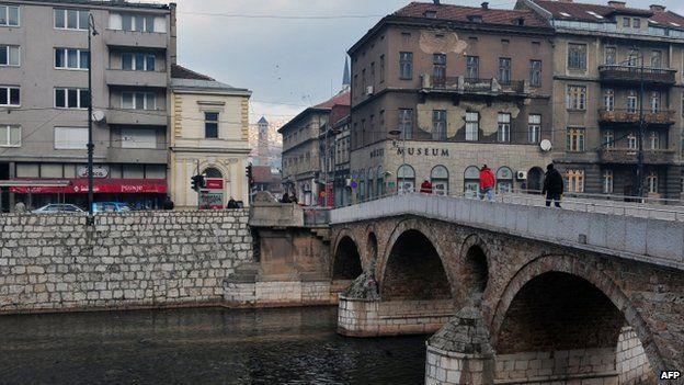Street corner in Sarajevo