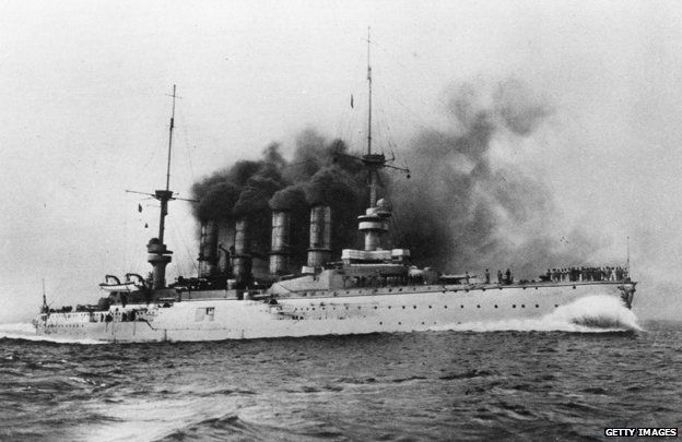 7th December 1914: The German battleship 'Scharnhorst', which was sunk by the British, in action off the Falkland Islands