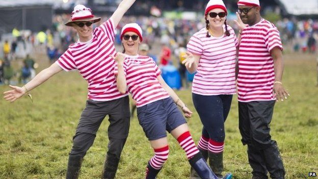 Festival-goers at Glastonbury