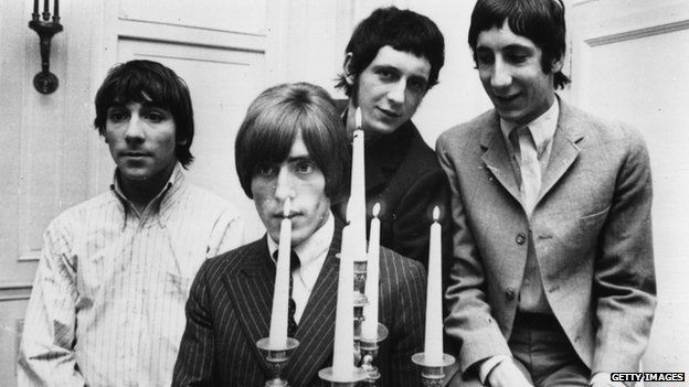 The Who during their 1966 German/Swiss tour (l-r) drummer Keith Moon (1947-1978), Roger Daltrey (vocals), John Entwistle (1944-2002, bass guitar) and Pete Townshend (guitar).