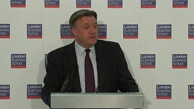 Ed Balls speaking in central London