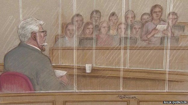 A court sketch of the Rolf Harris jury delivering its verdicts